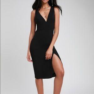 NWT Black Backless Bodycon Midi Dress